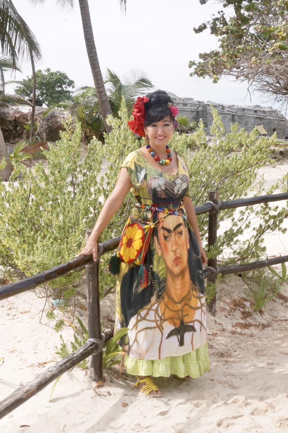 tulum-ruins-ruinas-mexico-woman-frida-khalo-dress-mujer